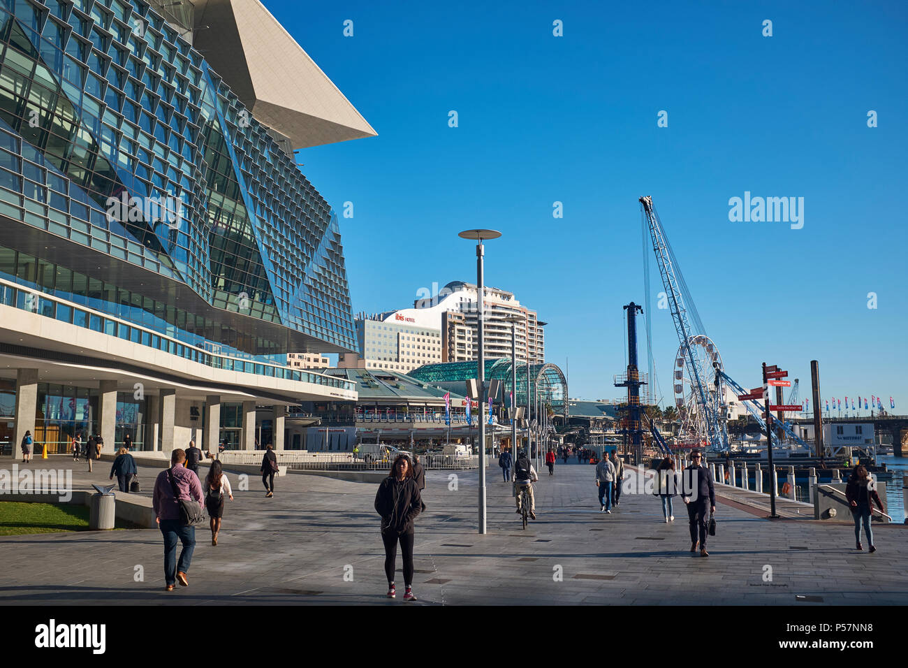 View of the International Convention Centre Sydney and The Harbourside Shopping Centre, Tumbalong, Darling Harbour, Sydney, Australia - Stock Image