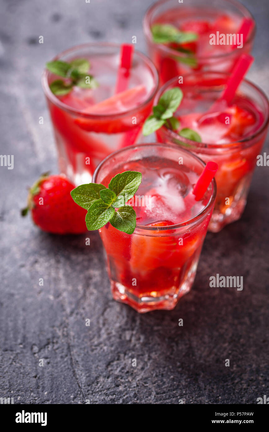 Summer fresh drink strawberry lemonade - Stock Image