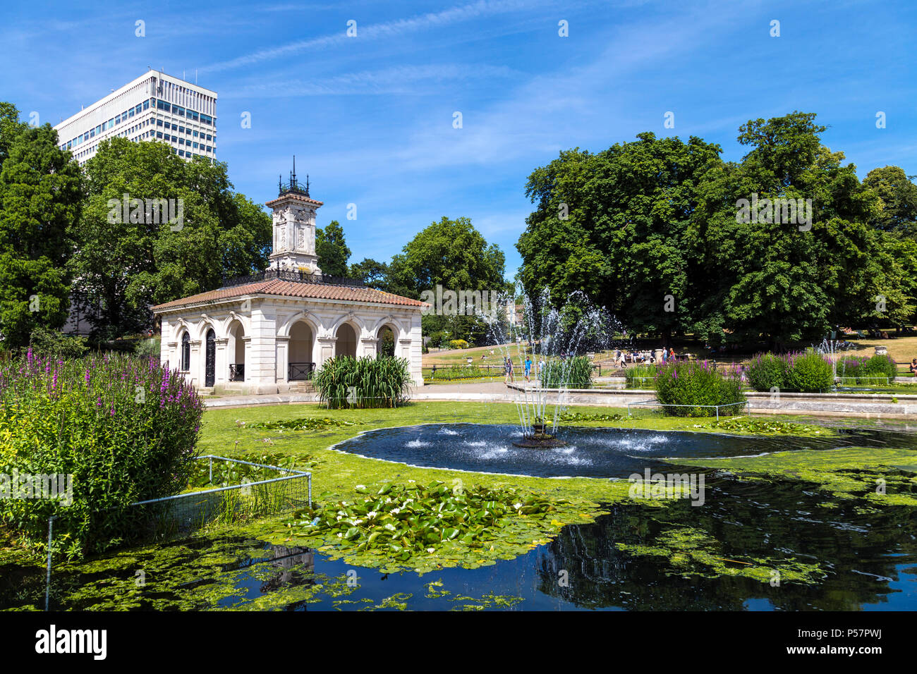 Italian Water Gardens and the former pump house designed by Sir Charles Barry and Robert Richardson Banks in Hyde Park, London, UK - Stock Image