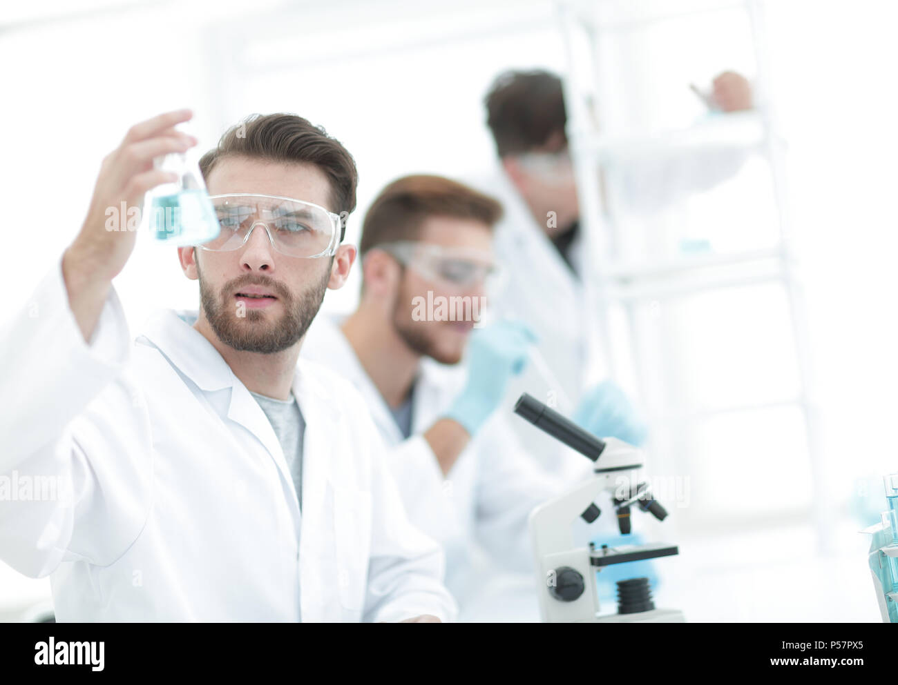 closeup.scientists in the laboratory - Stock Image