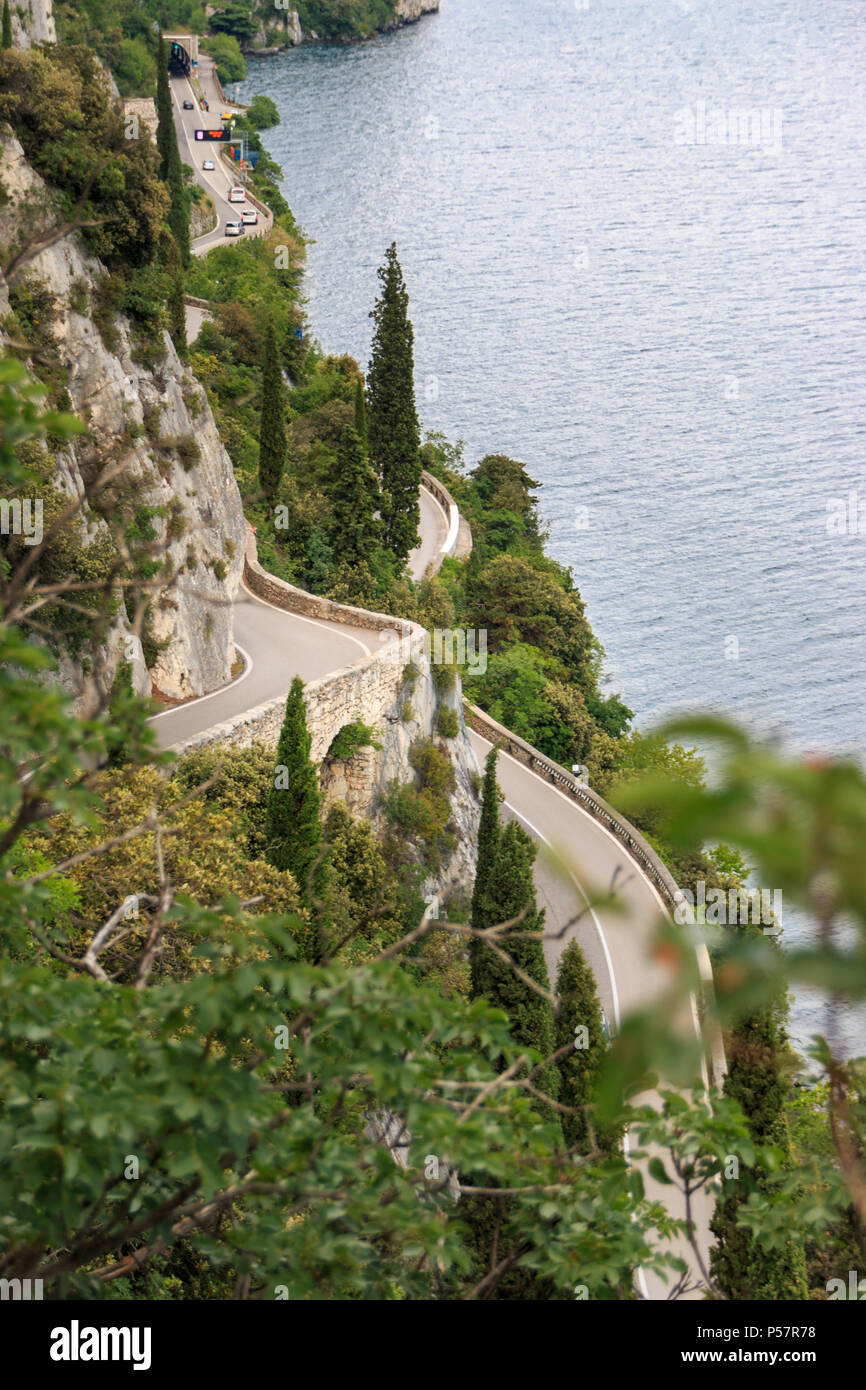 Tremosine – May 25, 2017: Gardesana Occidentale is an enchanting road along the west shore of Lake Garda in the Italian province of Lombardy - Stock Image
