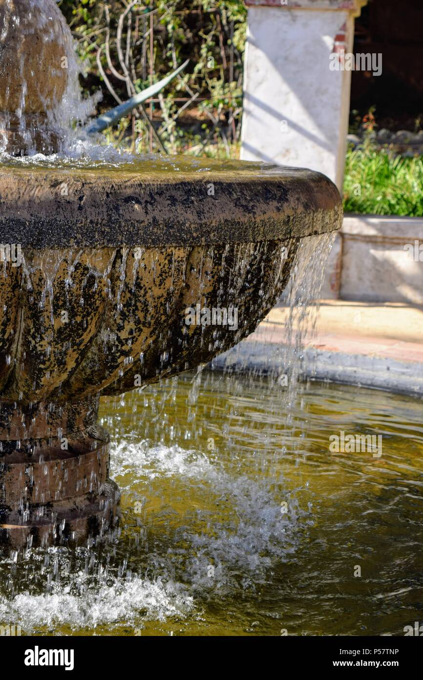 Spanish style fountain and falling water, Descanso Gardens, CA Stock ...