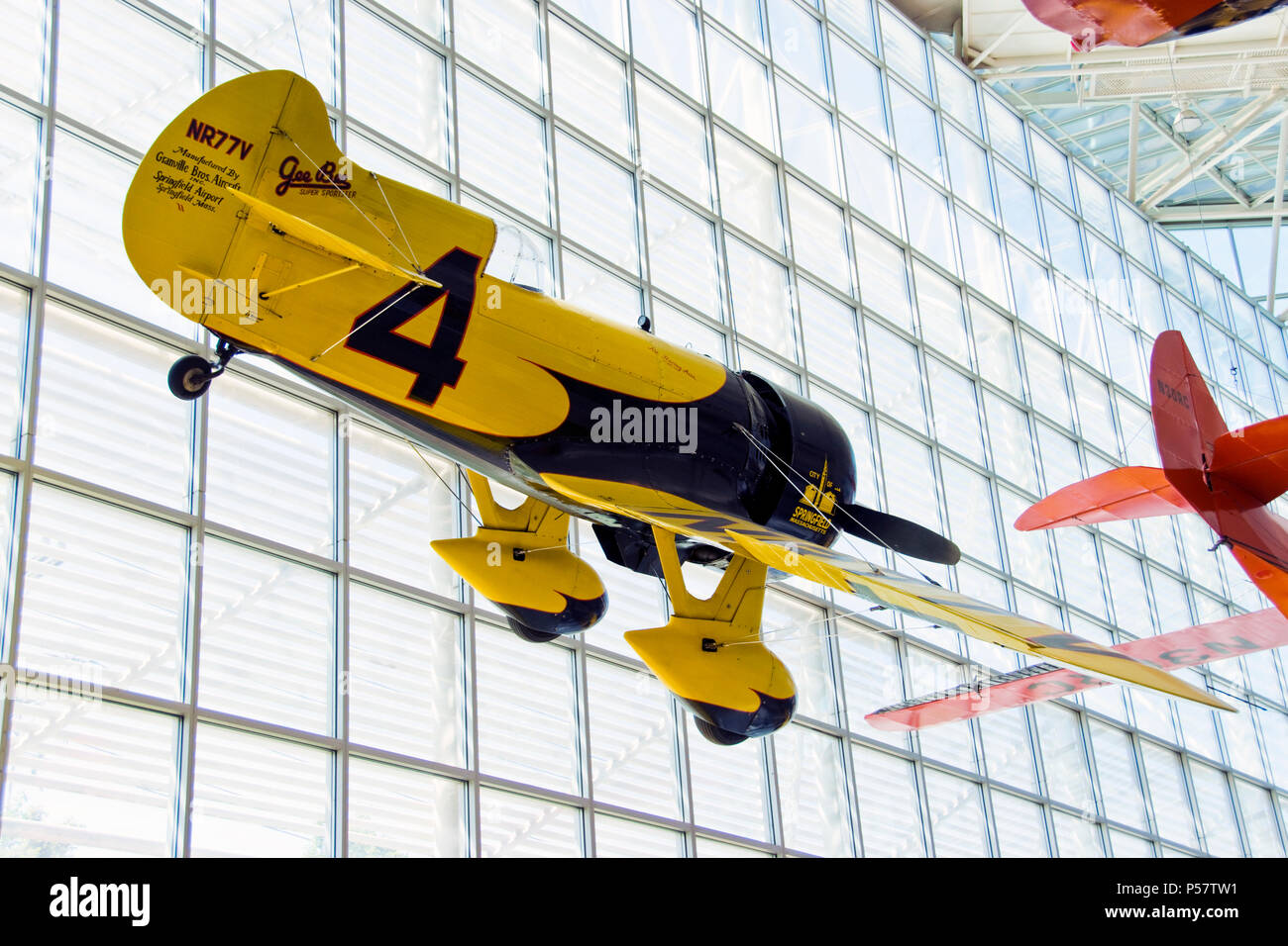 """A reproduction of the Gee Bee 'City of Springfield,"""" built to win the 1931 Thompson Trophy Race, hangs in the Museum of Flight, Tukwila Washington. - Stock Image"""