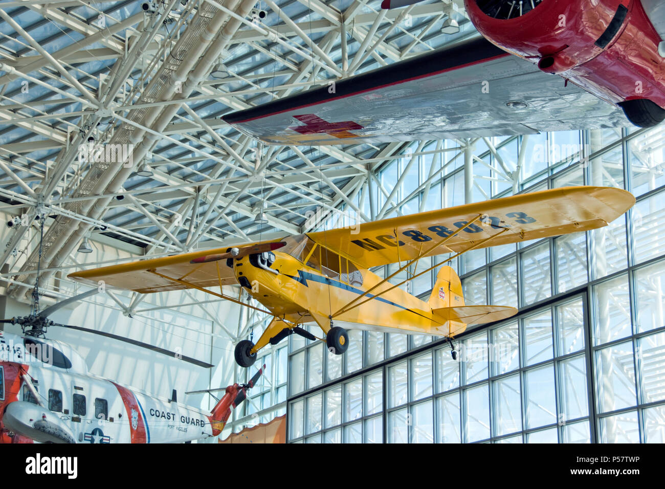 Piper J3 Cub at the Museum of Flight, Boeing Field, Washington Stock