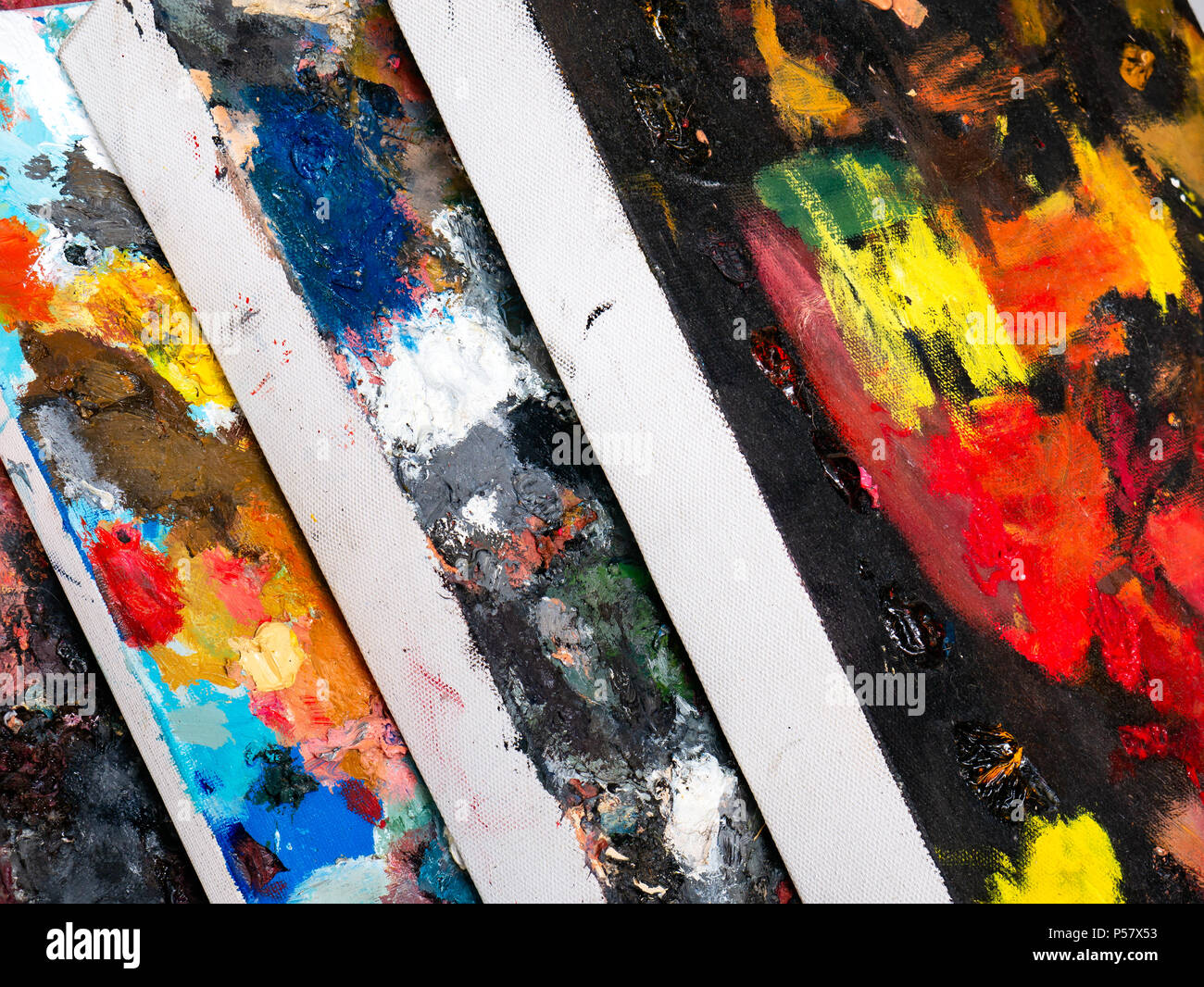 Stack of abstract texture and color on canvas Stock Photo