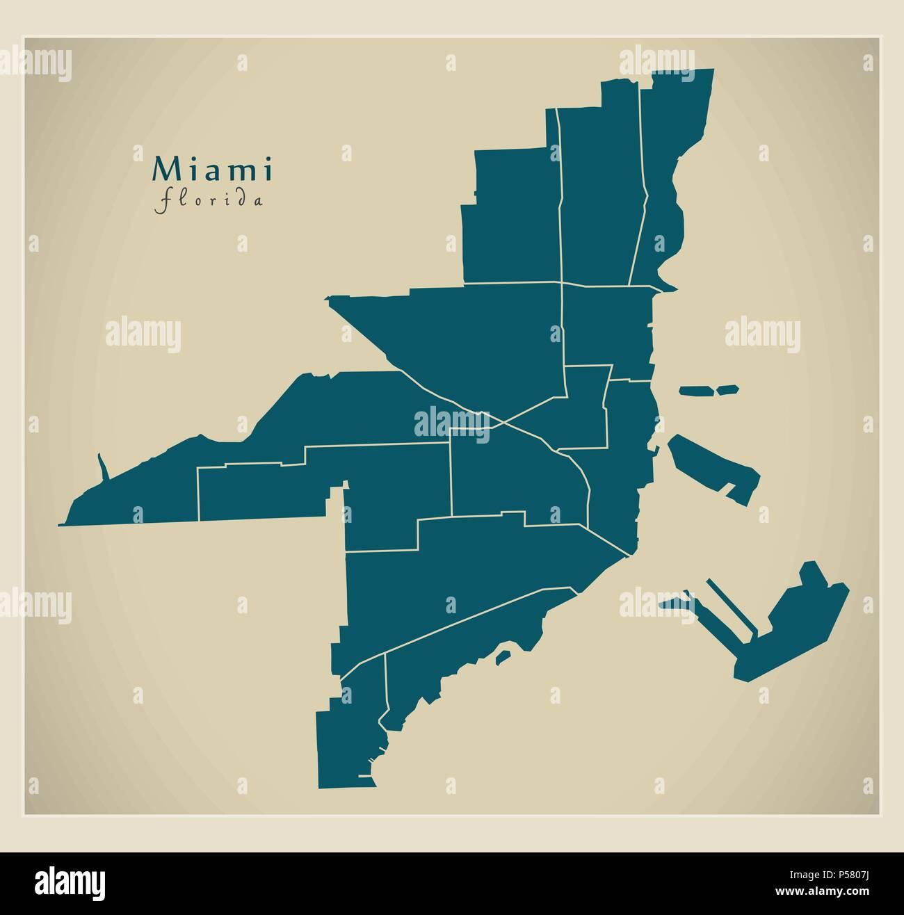 Map Of Miami Florida.Modern City Map Miami Florida City Of The Usa With Neighborhoods