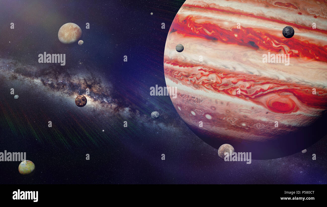 planet Jupiter with some of the 69 known moons lit by the Sun and the Milky Way galaxy (3d space render, elements of this image are furnished by NASA) - Stock Image