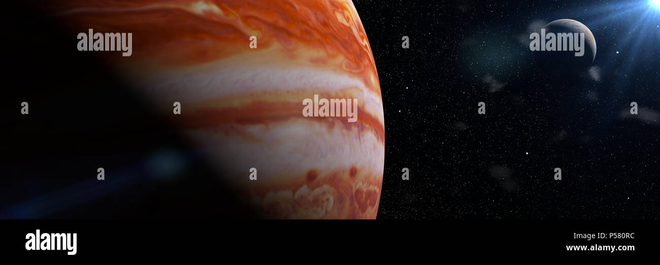 Jupiter's moon Europa and the planet Jupiter, largest in the solar system (3d illustration banner, elements of this image are furnished by NASA) - Stock Image