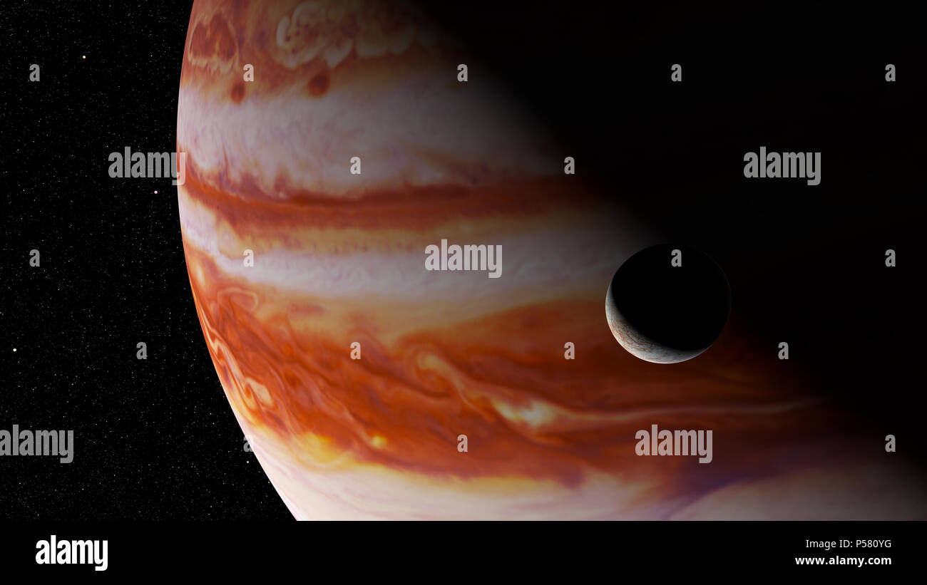 Jupiter's moon Europa and the planet Jupiter (3d rendering, elements of this image are furnished by NASA) - Stock Image