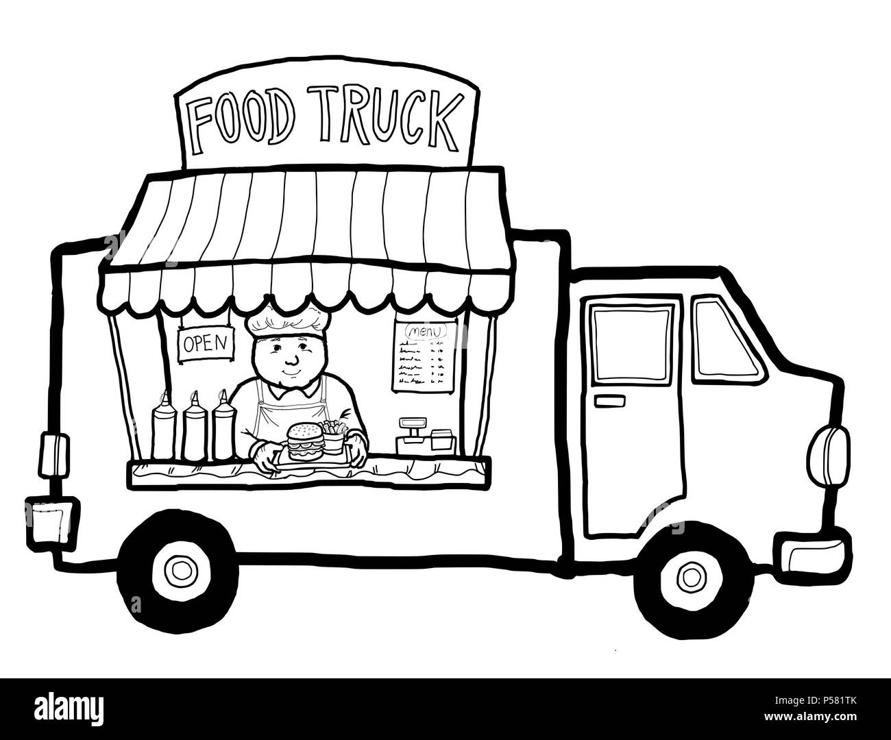 A Street Food Truck In The City Selling Take Away Food And Drink Hamburger Stock Photo Alamy