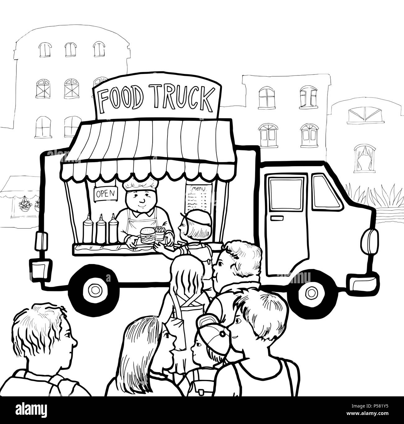 Food Truck Black and White Stock Photos & Images - Alamy