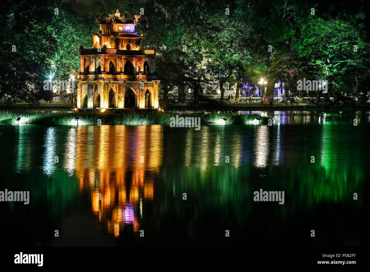 Turtle Tower, Hoan Kiem Lake, Hanoi, Vietnam - Stock Image