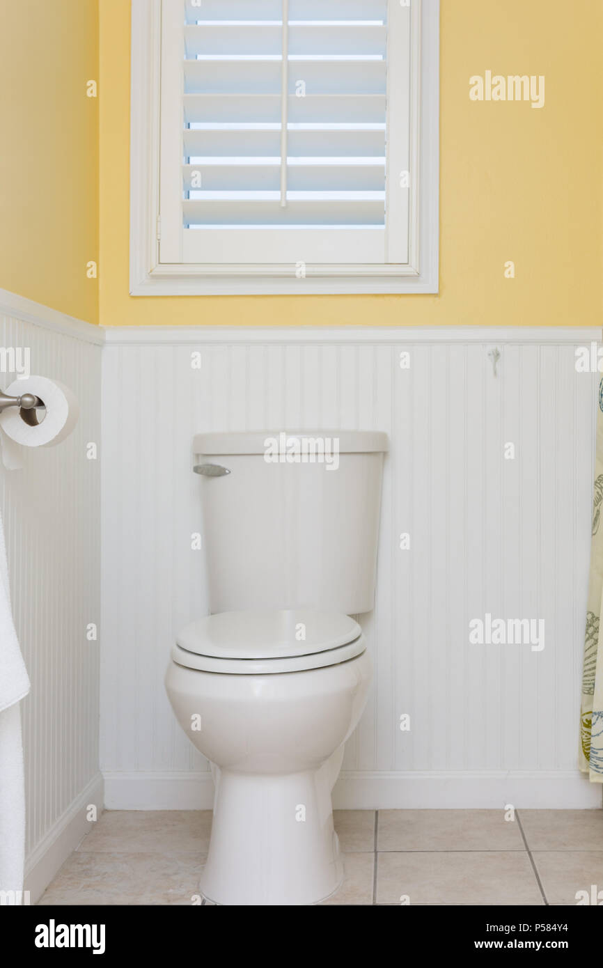 Clean toilet, white beardboard or wainscot, bright yellow textured ...