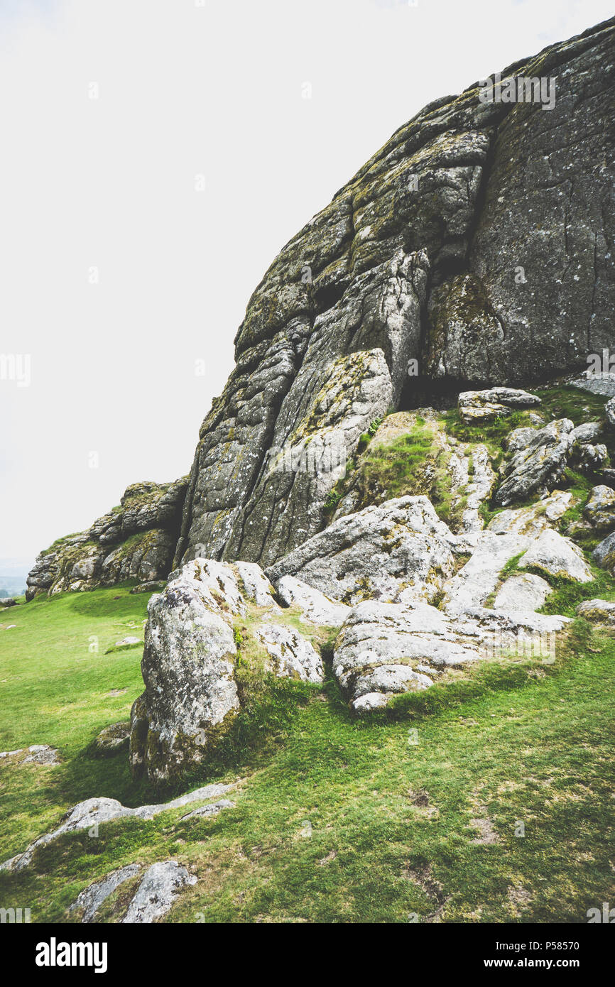 Daytime photo on a cloudy but sunny day at Haytor Rocks in Dartmoor National Park - Stock Image