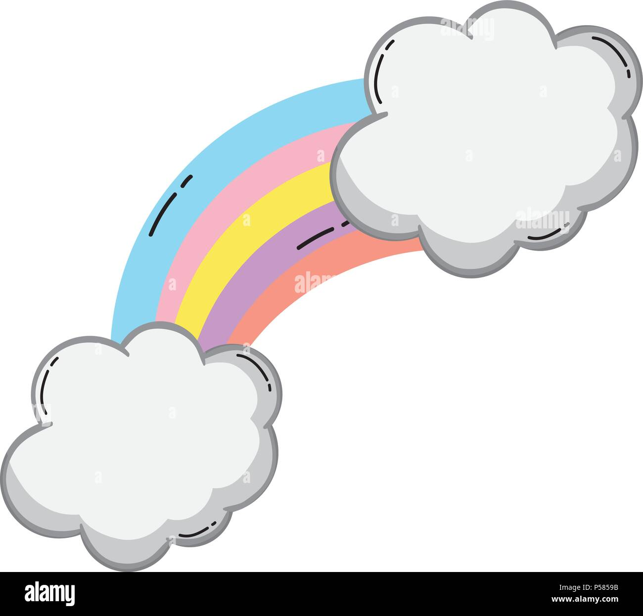 nature bright rainbow with fluffy clouds vector illustration - Stock Image