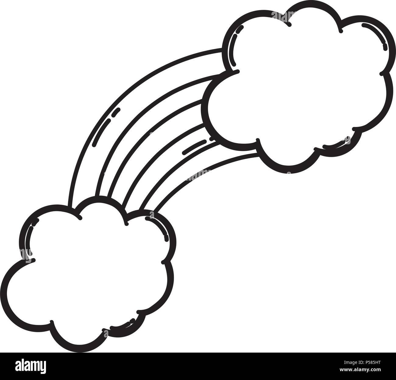 line nature bright rainbow with fluffy clouds vector illustration - Stock Image