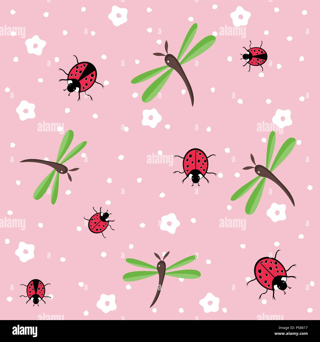 dragonflies and ladybugs seamless floral pattern - Stock Vector