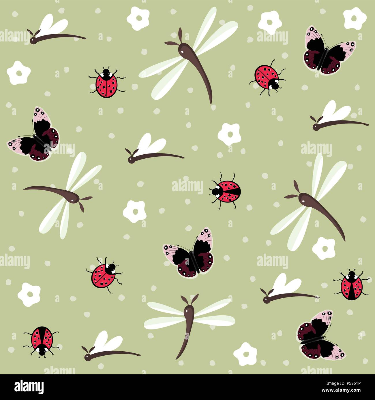 Insects seamless floral pattern - Stock Vector