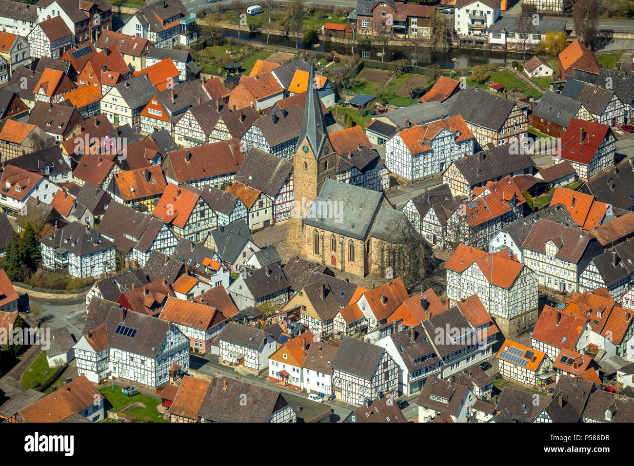 District Mengerinhausen in Bad Arolsen, with St. George's Church is a typical for the late Middle Ages Gothic hall church, Waldeck-Frankenberg distric - Stock Image