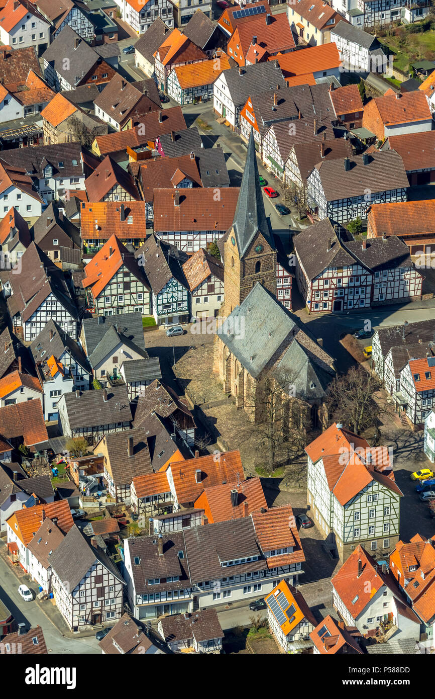 District Mengerinhausen in Bad Arolsen, with St. George's Church is a typical for the late Middle Ages Gothic hall church, Waldeck-Frankenberg distric Stock Photo