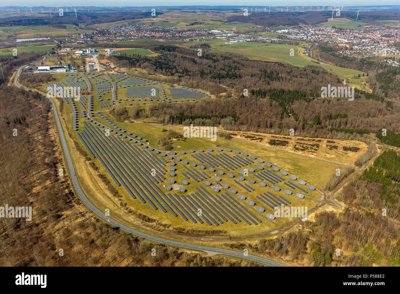 Solar plant on the former Prinz-Eugen-Kaserne area, with industrial and commercial park, asphalt mixing plant, asphalt plants Waldeck GmbH & Co. KG, B - Stock Image