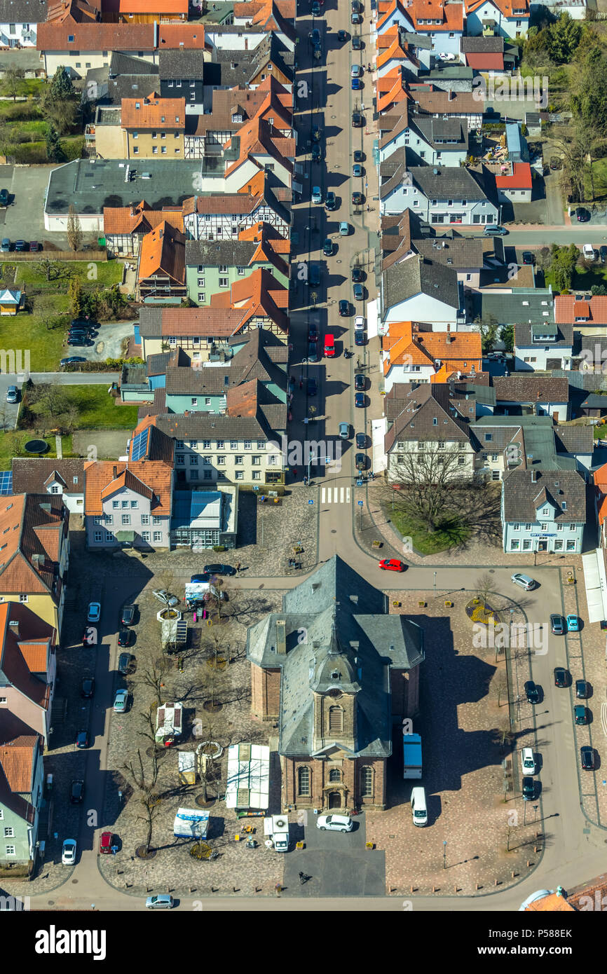 City Church with churchyard and Bahnhofstrasse, Great Avenue, Oak Avenue, Bad Arolsen, Waldeck-Frankenberg, Hesse, Germany, Bad Arolsen, DEU, Europe,  - Stock Image