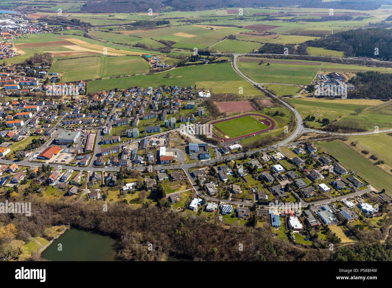 Sports stadium on the Odershäuser road, football field, sports field in Bad Wildungen in Hesse. Bad Wildungen, spa and state bath in the district of W - Stock Image