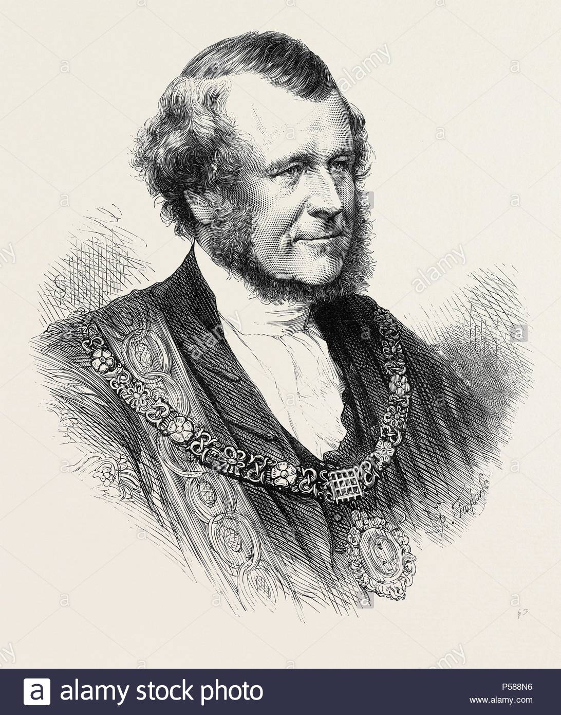 THE RIGHT HON. SILLS JOHN GIBBONS, THE NEW LORD MAYOR OF LONDON, 1871. - Stock Image