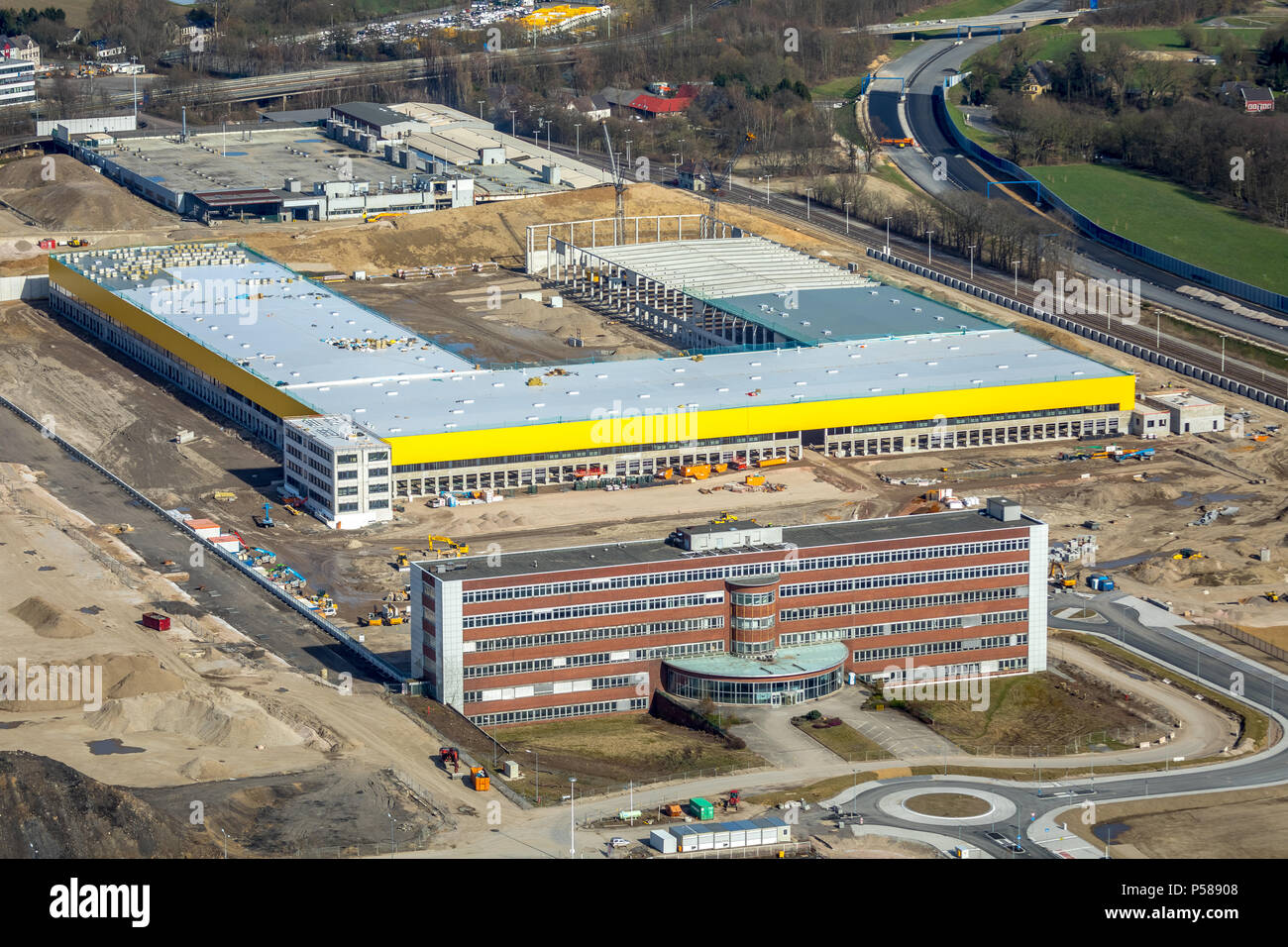 MARK 51 ° 7 on the former OPEL factory 1 area with the former head office and the DHL logistics hall in Bochum in NRW. Bochum, Ruhrgebiet, North Rhine - Stock Image