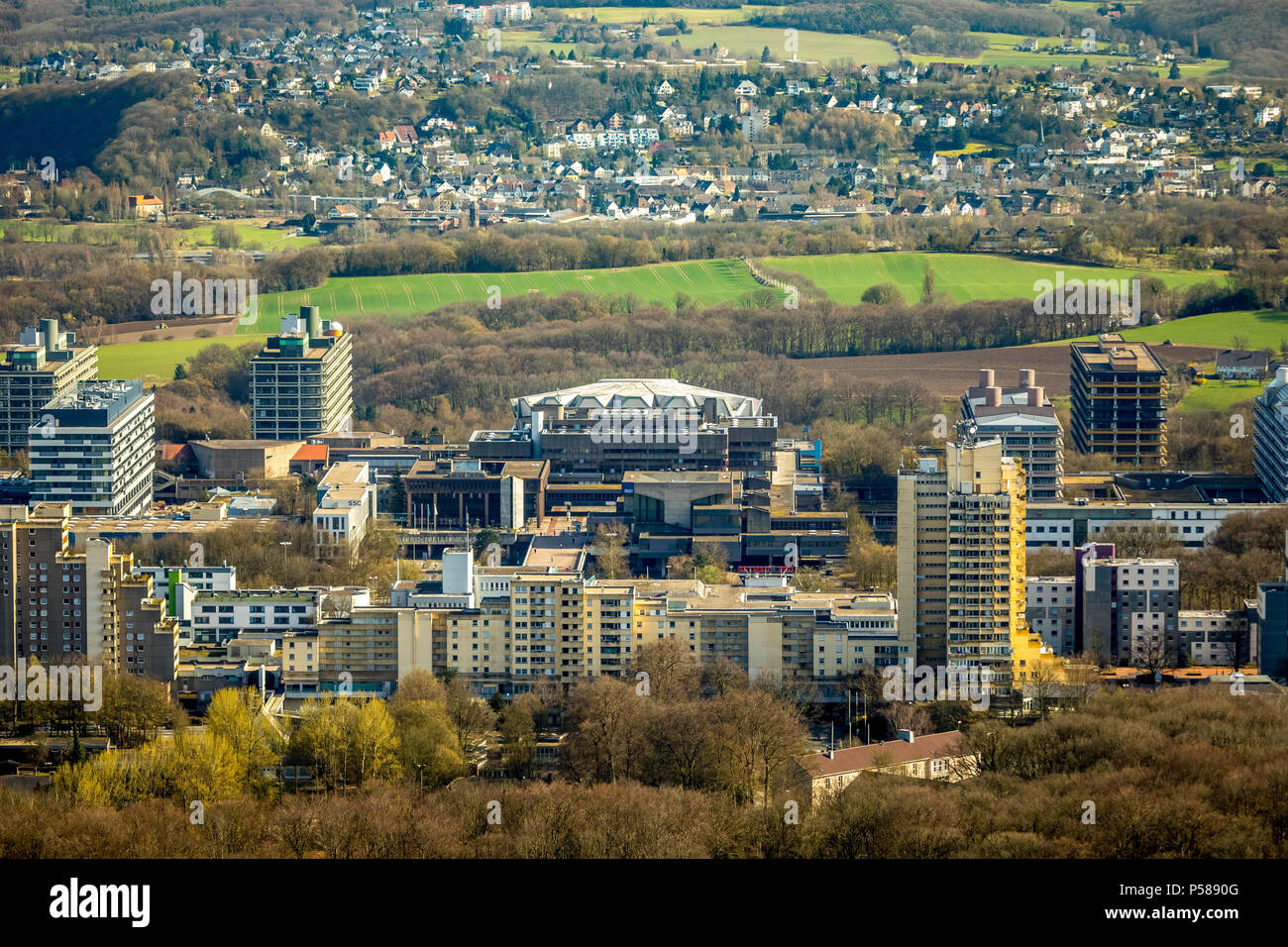 View of the Ruhr-Universität from the north with Audi-Max lecture hall in Bochum in NRW. Bochum, Ruhr area, North Rhine-Westphalia, Germany, Bochum, D - Stock Image