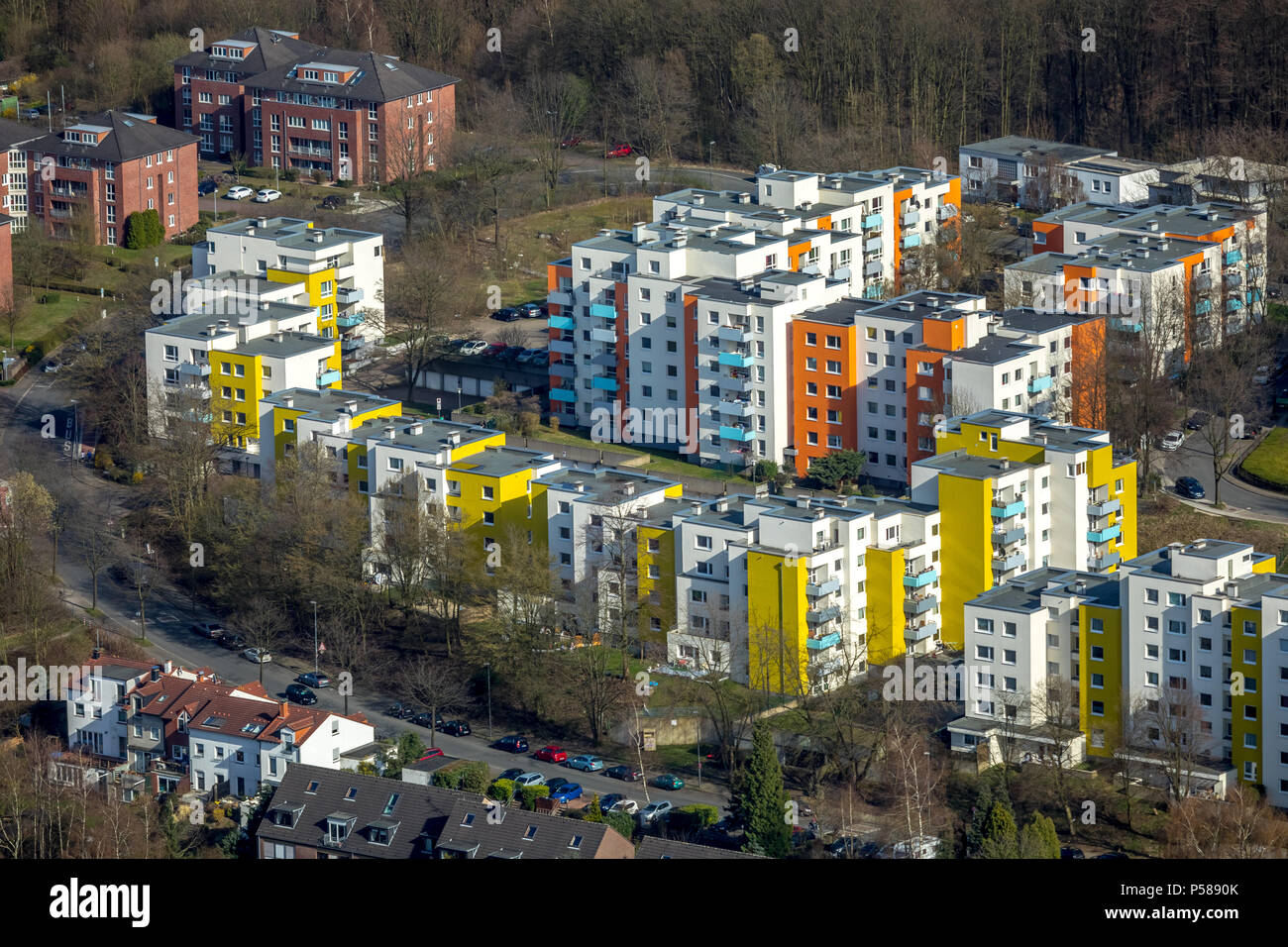 High-rise settlement Bochum-Querenburg with colorful skyscrapers in Bochum in North Rhine-Westphalia. Bochum, Ruhr area, North Rhine-Westphalia, Germa - Stock Image