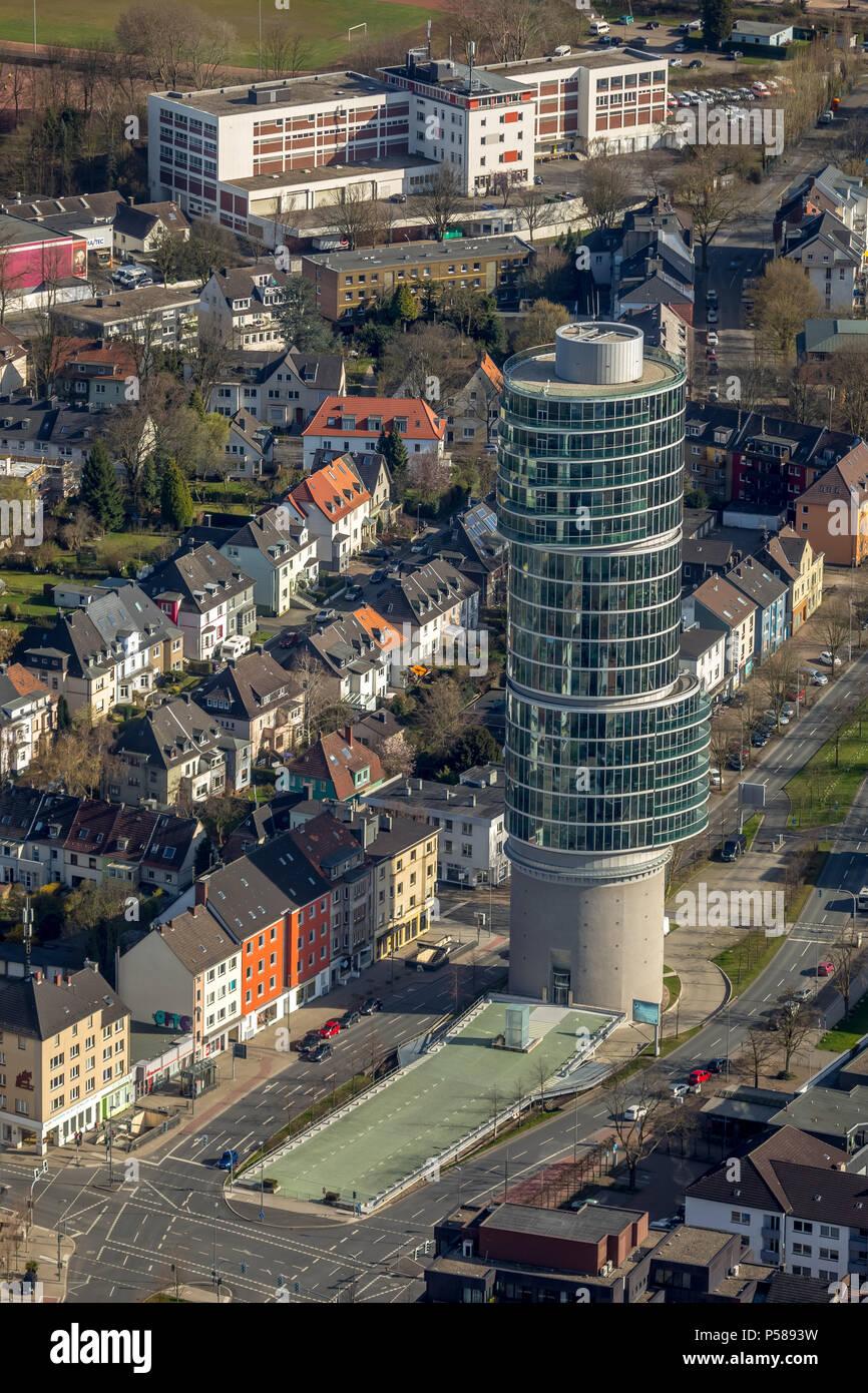 Office building on a WW2 bunker, Exzenter house Bochum, Universitätsstraße, extraordinary architecture, in Bochum in NRW. Bochum, Ruhr area, North Rhi Stock Photo