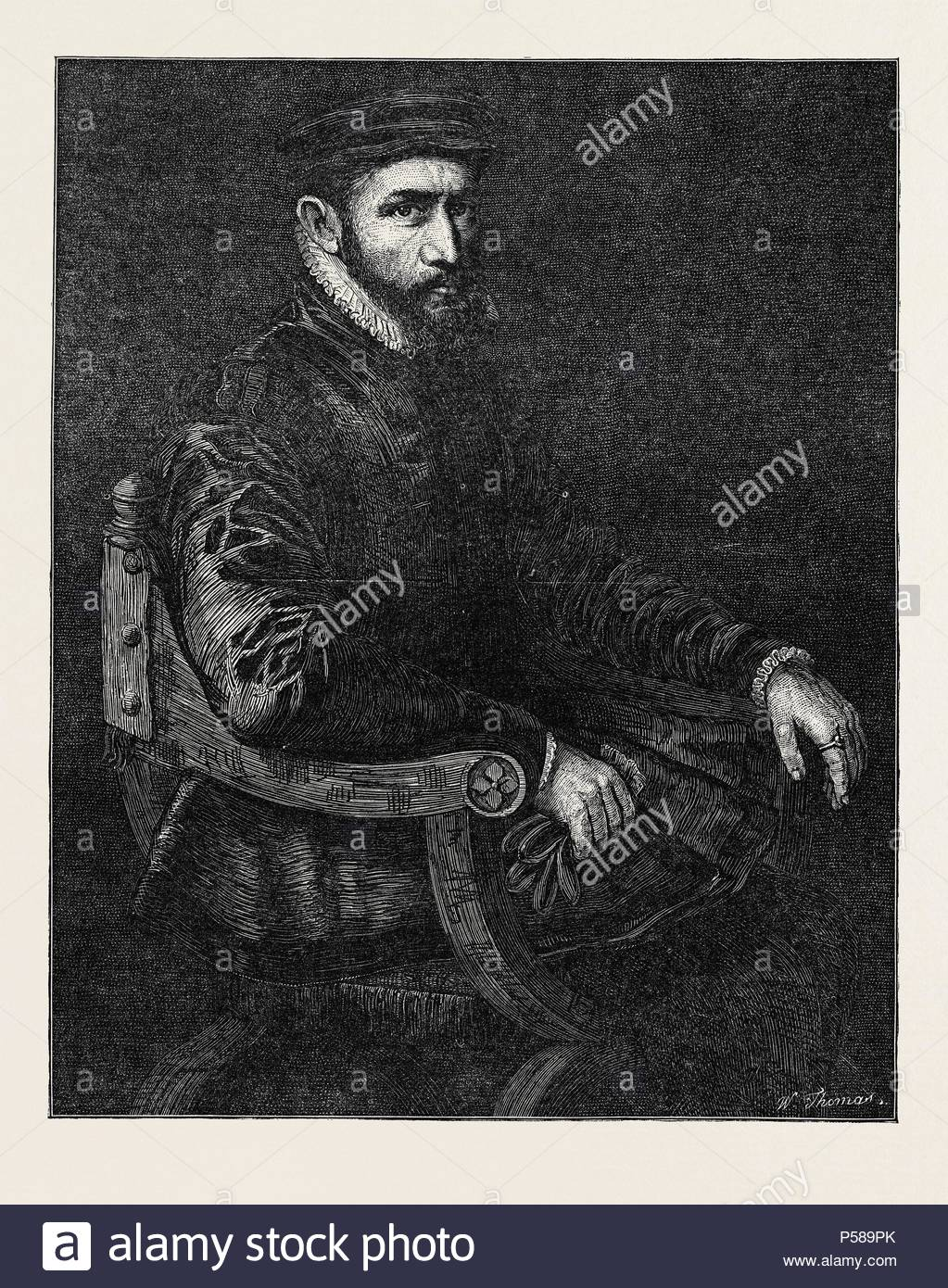SIR THOMAS GRESHAM, BY SIR ANTONIO MORE, IN THE NATIONAL PORTRAIT EXHIBITION, SOUTH KENSINGTON, LONDON, UK. - Stock Image