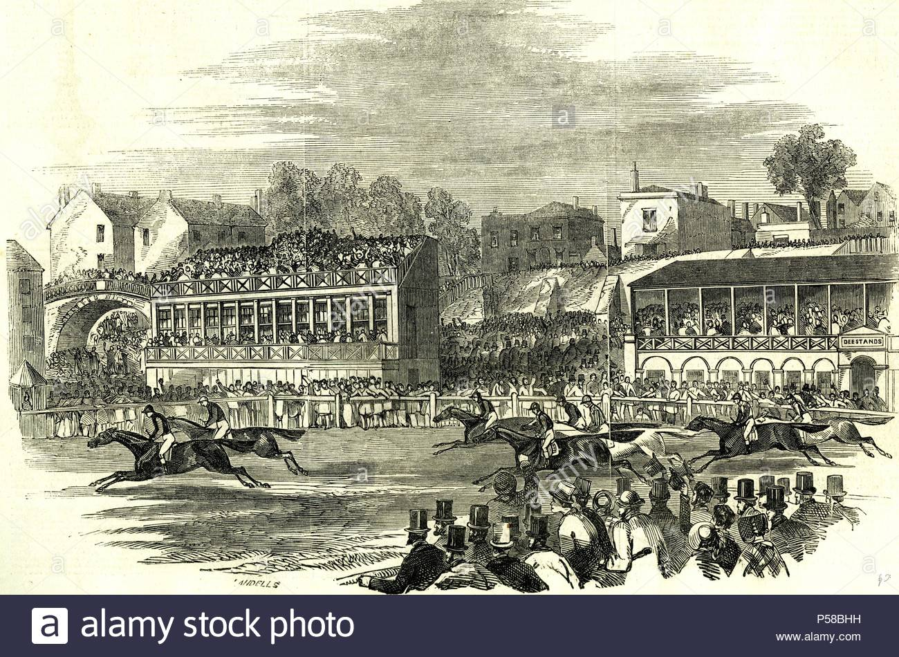 Chester, U.K., 1846, Chester races. The race for the Cup. - Stock Image