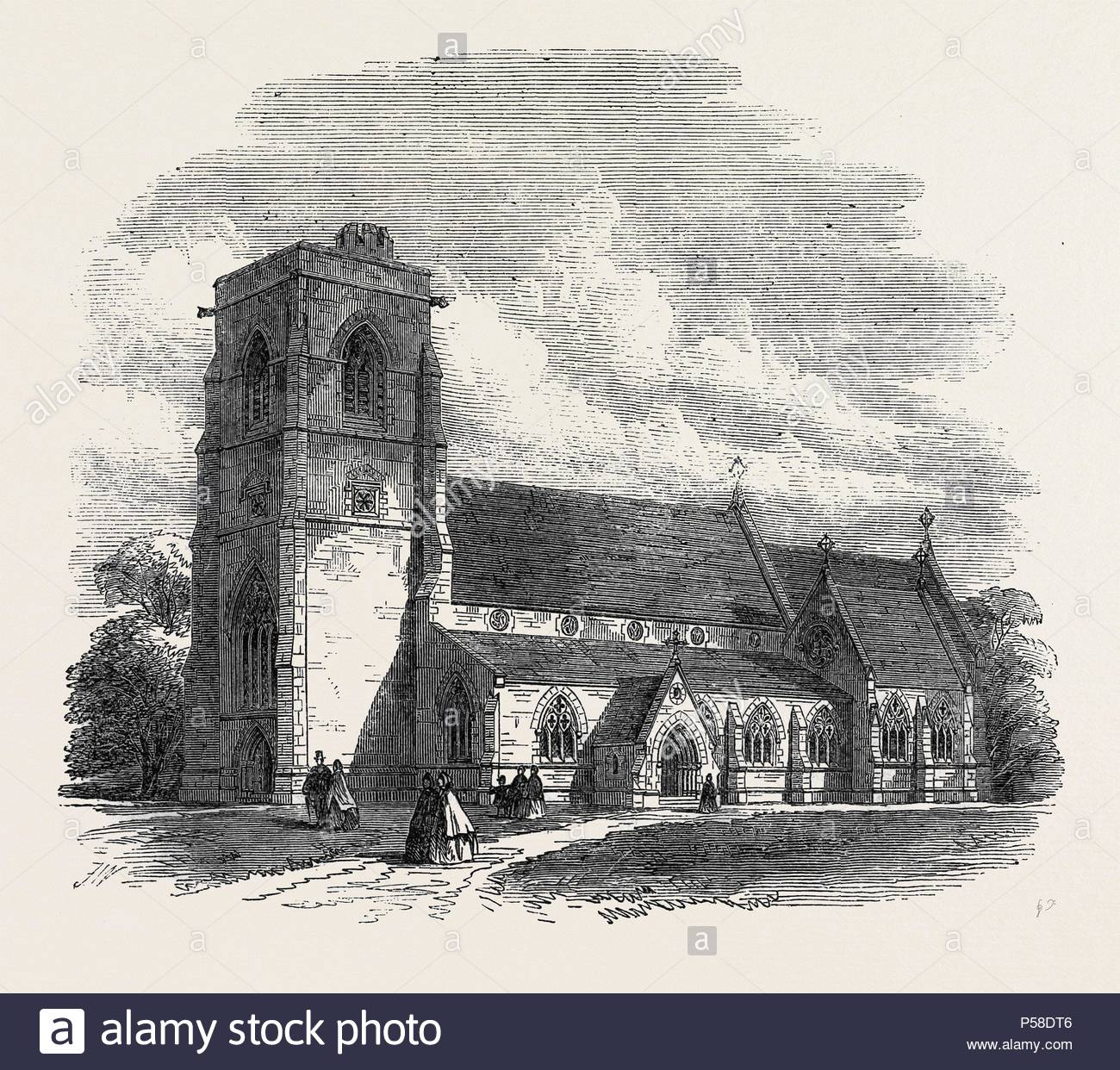 BENHILTON CHURCH, SUTTON, SURREY, UK, 1866. - Stock Image