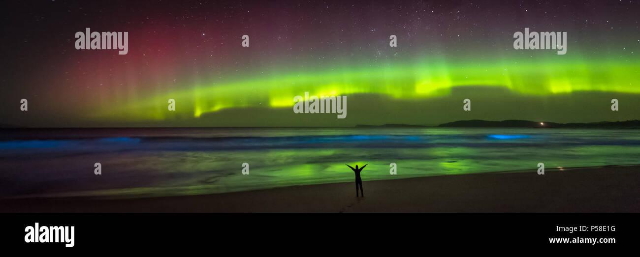 Joyful figure on a beach under the Aurora - Stock Image