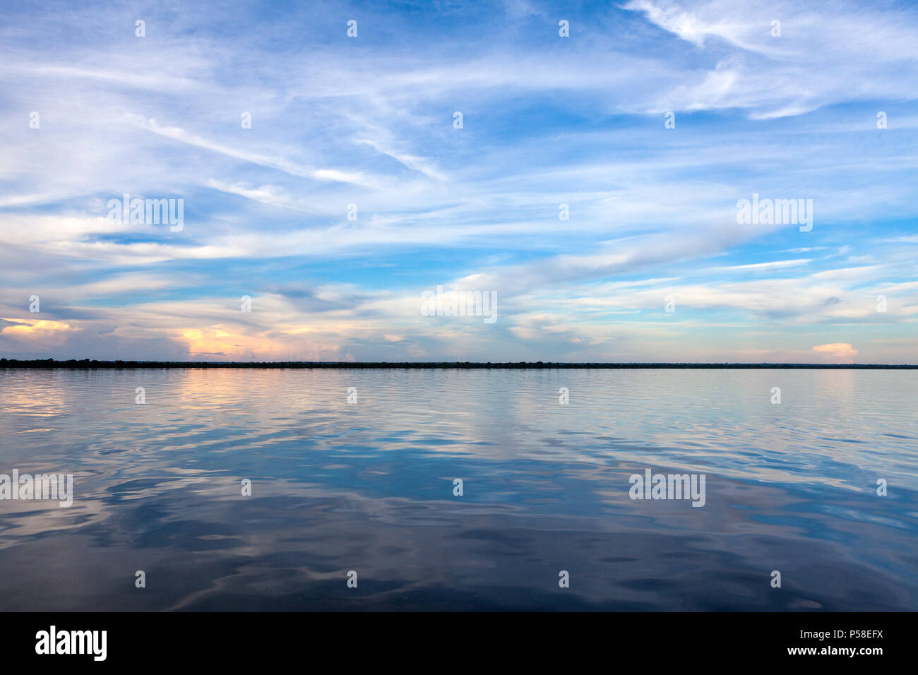 Amazonas, Brazil - River bank in the Amazon rainforest with textured dark waters of Negro river reflecting blue sky and clouds and the forest in the b - Stock Image