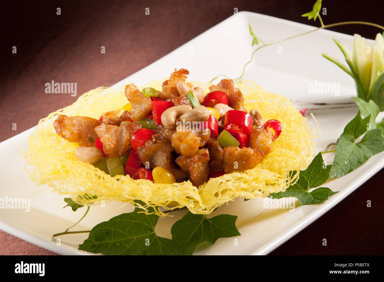 Fried chicken cartilage - Stock Image
