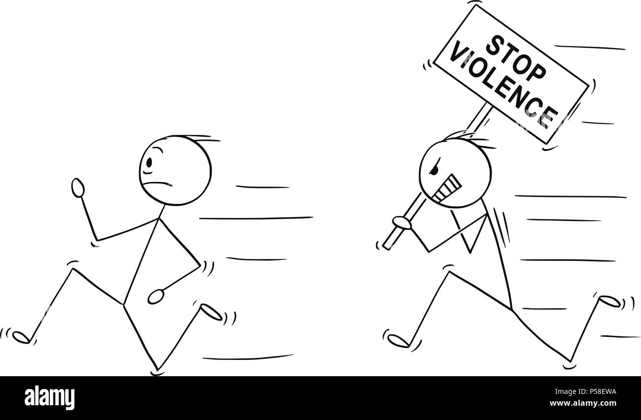 Cartoon of Angry Violent Man Holding Stop Violence Sign Chasing Another Man - Stock Vector