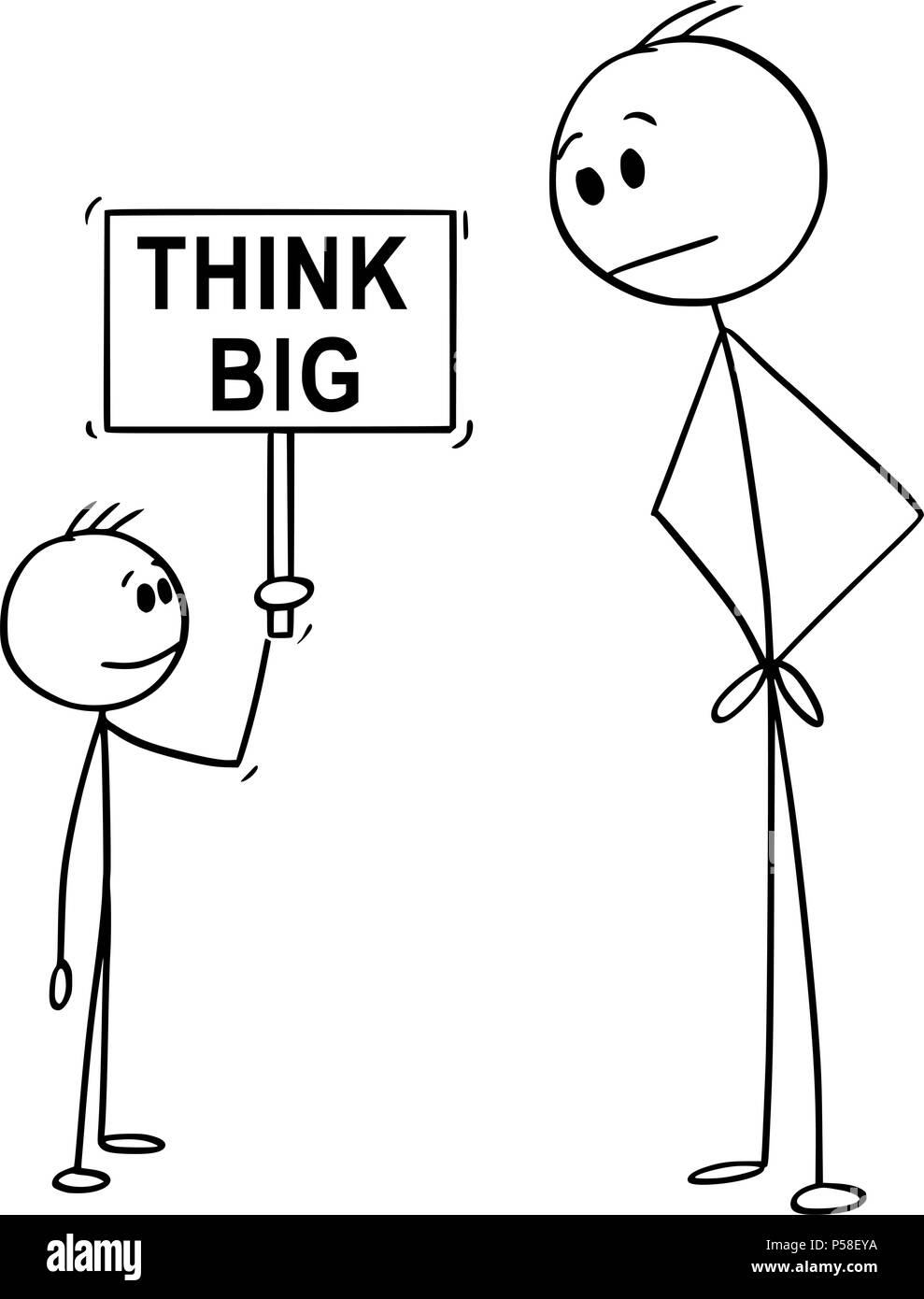 Cartoon of Man and Small Boy Holding Think Big Sign - Stock Image