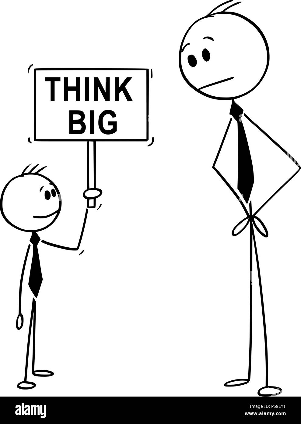 Cartoon of Businessman and Small Business Boy Holding Think Big Sign - Stock Image
