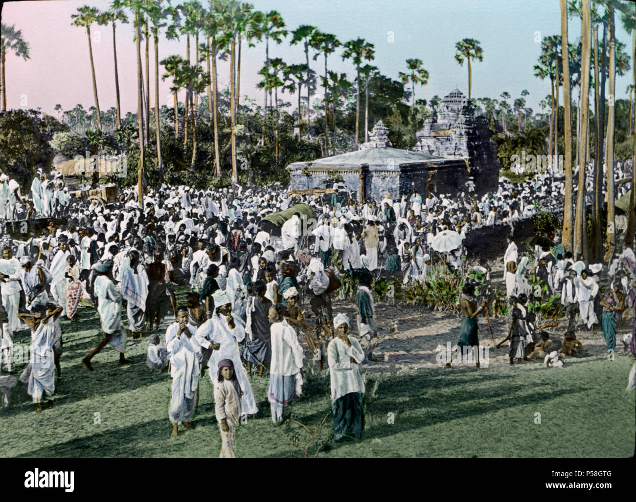 Magha Purnima Festival, Masulipatnam, India, Hand-Colored Magic Lantern Slide, Newton & Company, 1910 - Stock Image