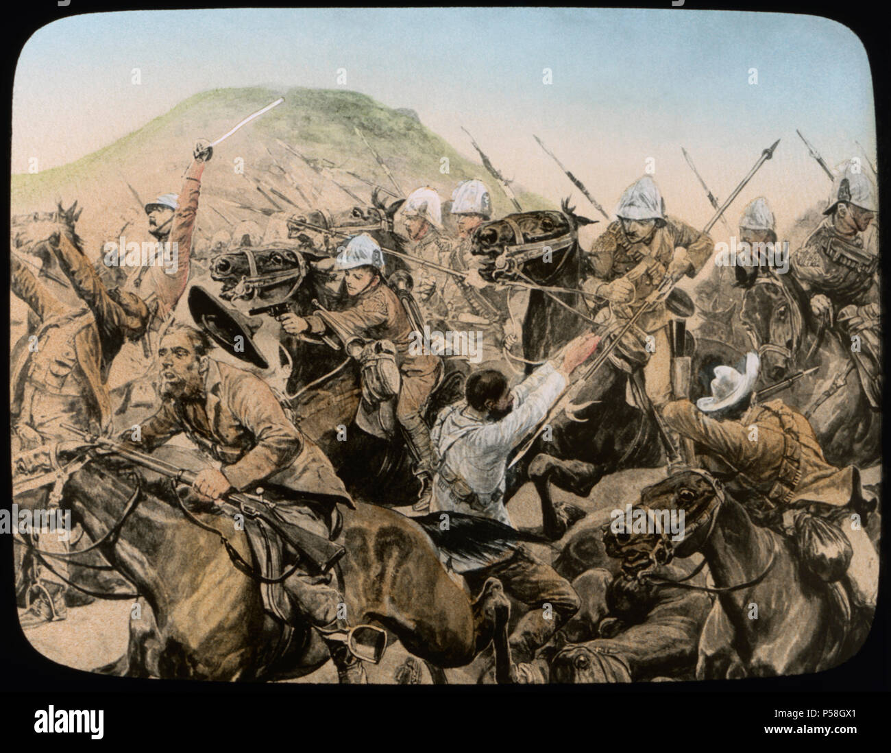 Charge of the 5th Lancers at Elandslaagte, 2nd Boer War, South Africa, Hand-Colored Magic Lantern Slide, Newton & Company, 21 November 1899 - Stock Image
