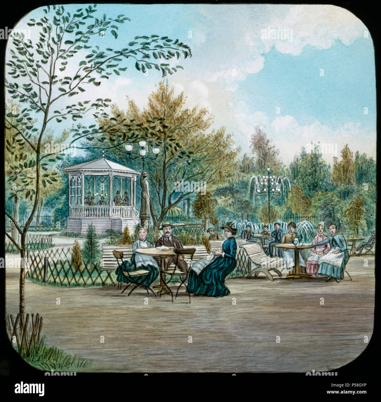 Swedish Pleasure Garden, Hand-Colored Magic Lantern Slide, Newton & Company, 1920 - Stock Image
