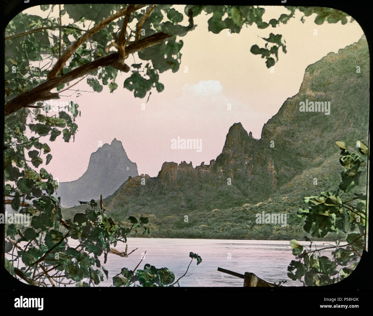 Cook's Bay, Moorea, South Pacific, Hand-Colored Magic Lantern Slide, Newton & Company, 1900 - Stock Image