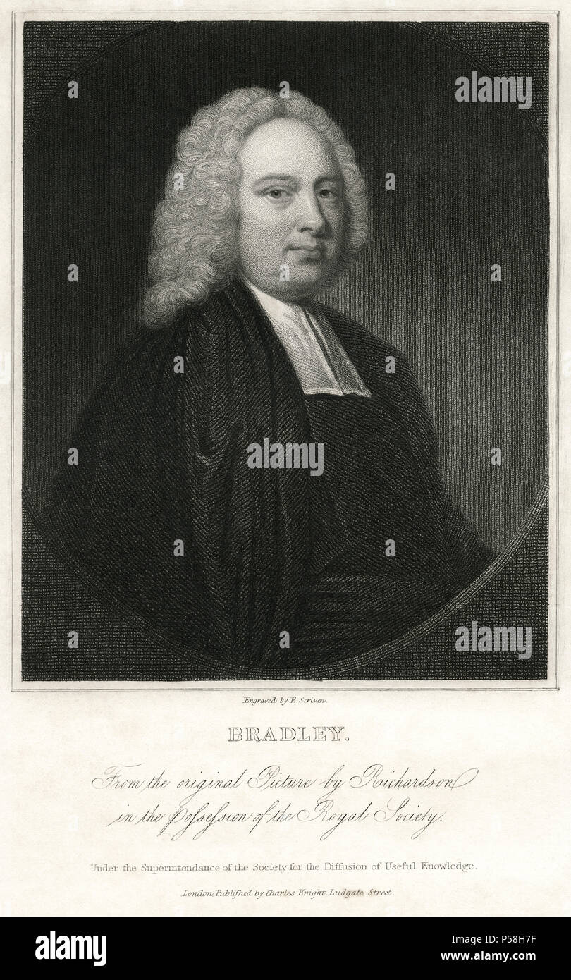 James Bradley (1693-1762), English Astronomer and Priest, Served as Astronomer Royal, Engraving by E. Scriven - Stock Image