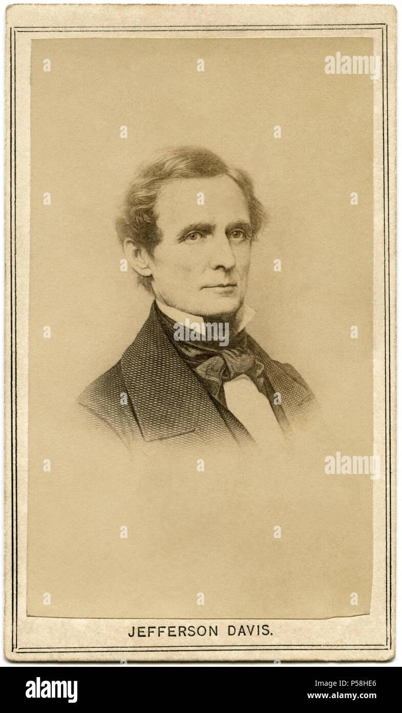 Jefferson Davis (1808-89), American Politician, President of the Confederate States, 1861-65, Head and Shoulders Portrait, 1860's - Stock Image