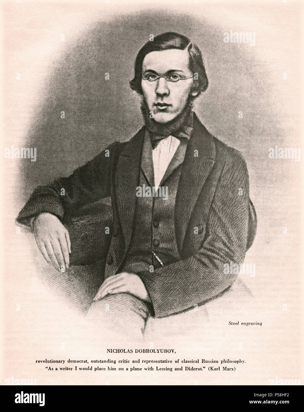 Nikolay Dobrolyubov (1836-61), Russian Literary Critic, Journalist and Poet, Seated Portrait, Steel Engraving - Stock Image