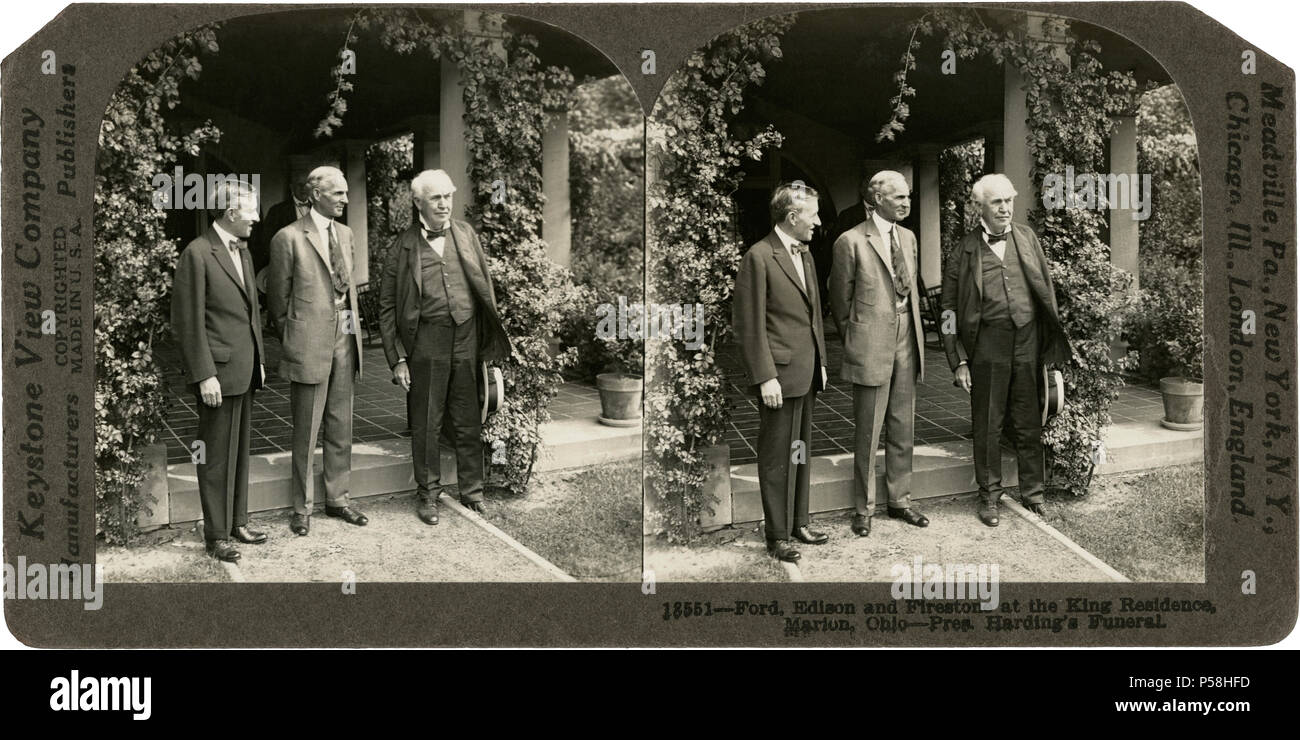 Harvey Firestone, Henry Ford & Thomas Edison  at King Residence during U.S. President Warren G. Harding's Funeral, Marion, Ohio, USA, Stereo Card, Keystone View Company, August 1923 - Stock Image