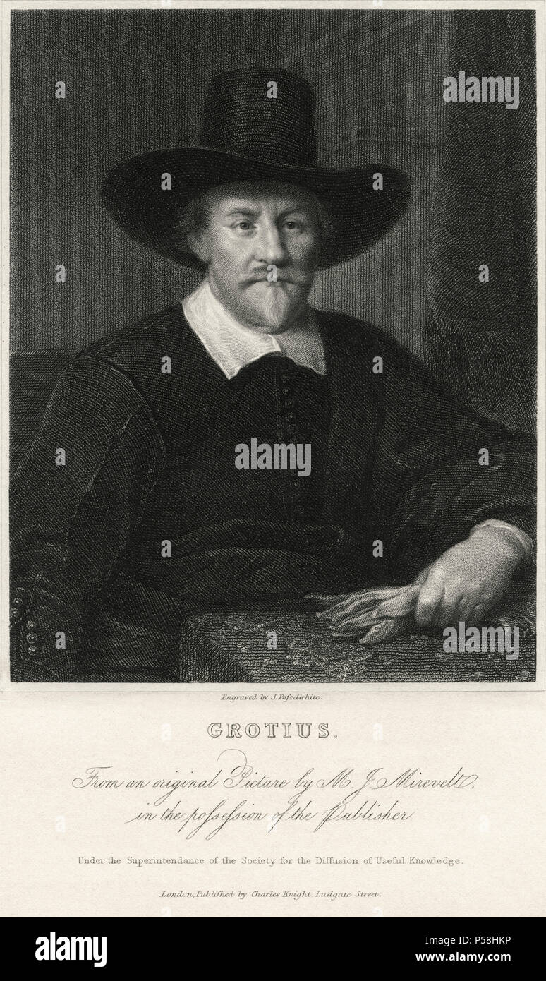 Hugo Grotius (1583-1645), Dutch Jurist and Scholar, Engraving from an Original Painting by Michiel Janszoon van Mierevelt - Stock Image
